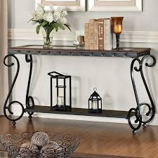Norcastle Sofa Table by Acme Furniture Waneta Sofa Table With Glass Top And Lower Shelf