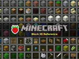 raspberry pi minecraft block id number reference