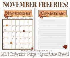 free gratitude and calendar printables for november thanksgiving