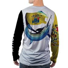 New Jersy Flag Guy Harvey 2017 State Collection New Jersey Mens Ls Performance Shirt