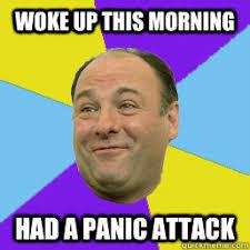 Panic Attack Meme - woke up this morning had a panic attack happy tony soprano