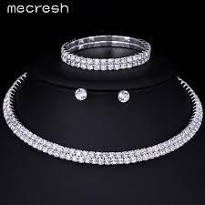 silver earrings bracelet set images Silver color circle crystal bridal jewelry sets african beads jpg