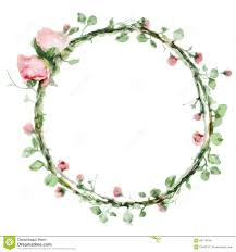 Foliage Flower - vector watercolor round frame with roses and foliage elements