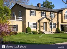 colonial style middle class house in boise idaho stock photo