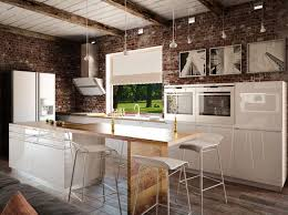 modele de cuisine en bois cuisine industrielle moderne lumières en acier de cadre noir