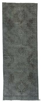 Grey Runner Rug K0018827 Grey Dyed Turkish Vintage Runner Rug