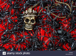 background halloween image skull with many black spider and beetle on bloody red background