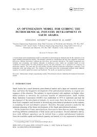 an optimization model for guiding the petrochemical industry