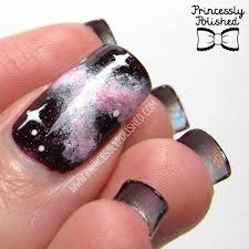 princessly polished glow in the dark galaxy manicure