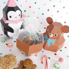 teddy penguin and reindeer treat boxes printable paper christmas