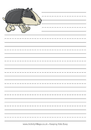 printable animal lined paper animal writing paper