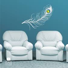 peacock feather wall decal vinyl art stickers zoom