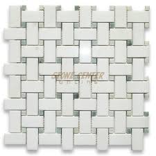Marble Mosaic Floor Tile Thassos White 1x2 Basketweave Mosaic Tile W Green Dots Polished