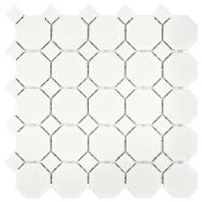 merola tile metro octagon matte white with dot 11 1 2 in x 11 1 2