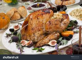 dinner table roasted thanksgiving turkey ready stock photo