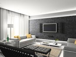 contemporary living room with interior wallpaper u0026 damask