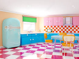 Retro Flooring by Retro Kitchen In Cartoon Style With Checkered Floor 3d