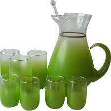 west virginia glass specialty blendo lime green cocktail pitcher