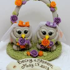 custom same owl love bird wedding cake toppers