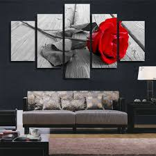 Decorative Pieces For Home Amazon Com H Cozy Art Abstract Art Rose In Black White Red