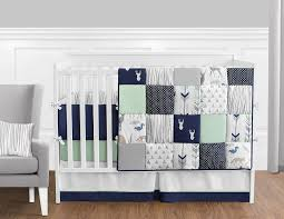 Crib Bedding Boys Sweet Jojo Designs 9 Navy Blue Mint And Grey