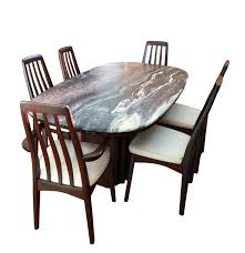 contemporary rosewood and stone top dining set ebth