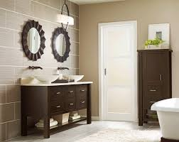 Granite Double Vanity Top Bathroom Round Wall Mirror With Modern Wall Sconces Also Granite