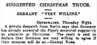 the 1914 christmas truce reported by ww1 newspapers the british