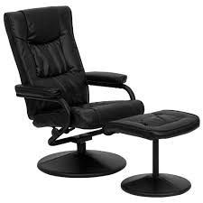 Leather Reclining Chairs Black Faux Leather Recliner Chair With Swivel Seat And Ottoman