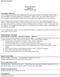 Hobbies And Interests For Resume Example by Primary Teacher Cv Example Icover Org Uk