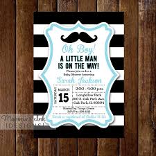 mustache baby shower invitations black and white rugby stripe mustache baby shower invitation