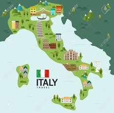 Milan Italy Map Design Italy And Milan Rome Travel And Landmark Concept Vector