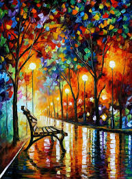 loneliness of autumn palette knife oil painting on canvas by