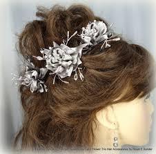 bridesmaid hair accessories platinum silver grey satin flower wedding hair accessory bridal