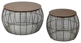 Espresso Accent Table Camden Espresso Two Piece Round Metal Accent Tables With Wood Top