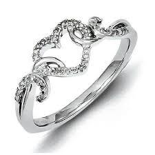 silver rings designs images Buy sterling silver heart shape design diamond ring promise ring jpg