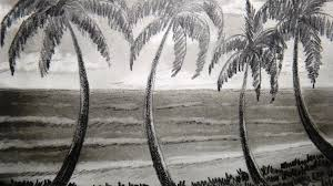 how to draw seashore and palm tree part 1