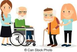 vector clip art volunteer caring elderly man vector
