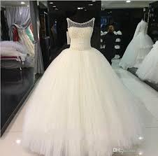 2017 vintage ball gown wedding dresses scoop illusion neck pearls