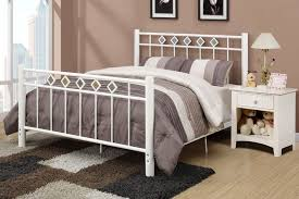 White Metal Bed Frame Queen White Bed Frame Queen Bedroom Untreated Oak Wood Low Profile Bed