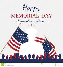 happy memorial day greeting card with flag and soldier on