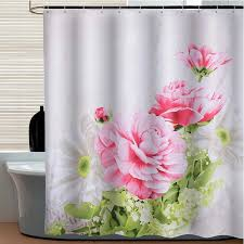 beautiful pink peony floral luxury shower curtains