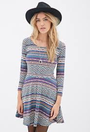 fit and flare dress forever 21 forever 21 southwestern print fit flare dress in blue lyst