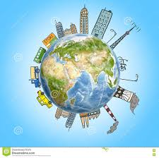 planet earth with drawn houses skyscrapers factories cars and