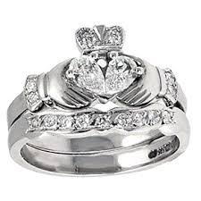 claddagh wedding rings 14k white gold claddagh engagement ring wedding ring set