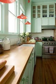 cabin remodeling beautiful shaped lime green wooden kitchen