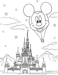 disney castle and mickey mouse air balloon coloring page