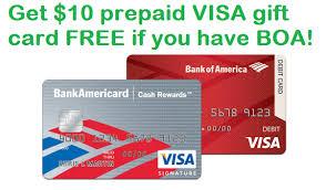 bank gift cards enroll in bank of america visa checkout and get 10 prepaid visa