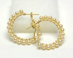 pearl hoop earrings classic white pearl hoop earrings 20mm beaded 1