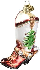 amazon com old world christmas cowboy boot glass blown ornament